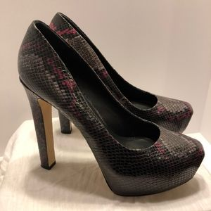Black/Pink Snakeskin Brian Atwood Pumps 39.5/9.5